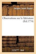 Observations sur la littérature