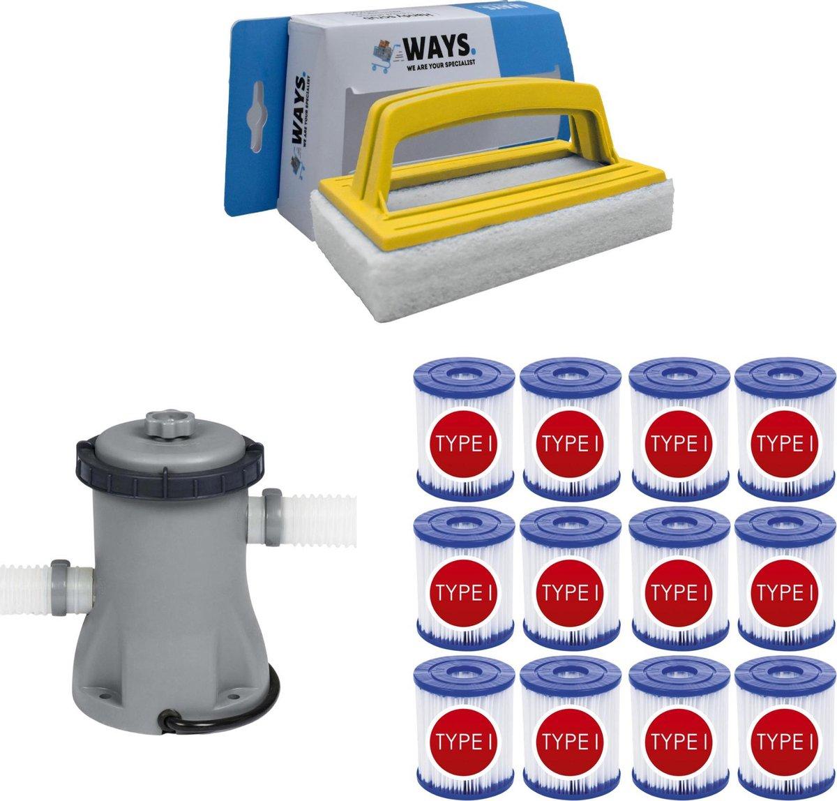 WAYS - Zwembad Onderhoud - Bestway Filterpomp 1249 L/h & 12 Bestway Filters Type I