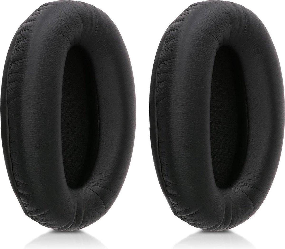 kwmobile 2x oorkussens voor Sony MDR-1000X / WH-1000XM2 koptelefoons - imitatieleer - voor over-ear-koptelefoon - zwart