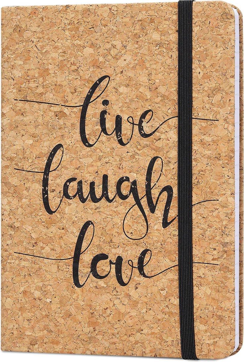 Navaris notitieboek van kurk met lijntjes - Notebook met elastieken sluiting, binnenvak en bladwijzer - 18 x 13 cm - 100 bladzijden - Live Laugh Love