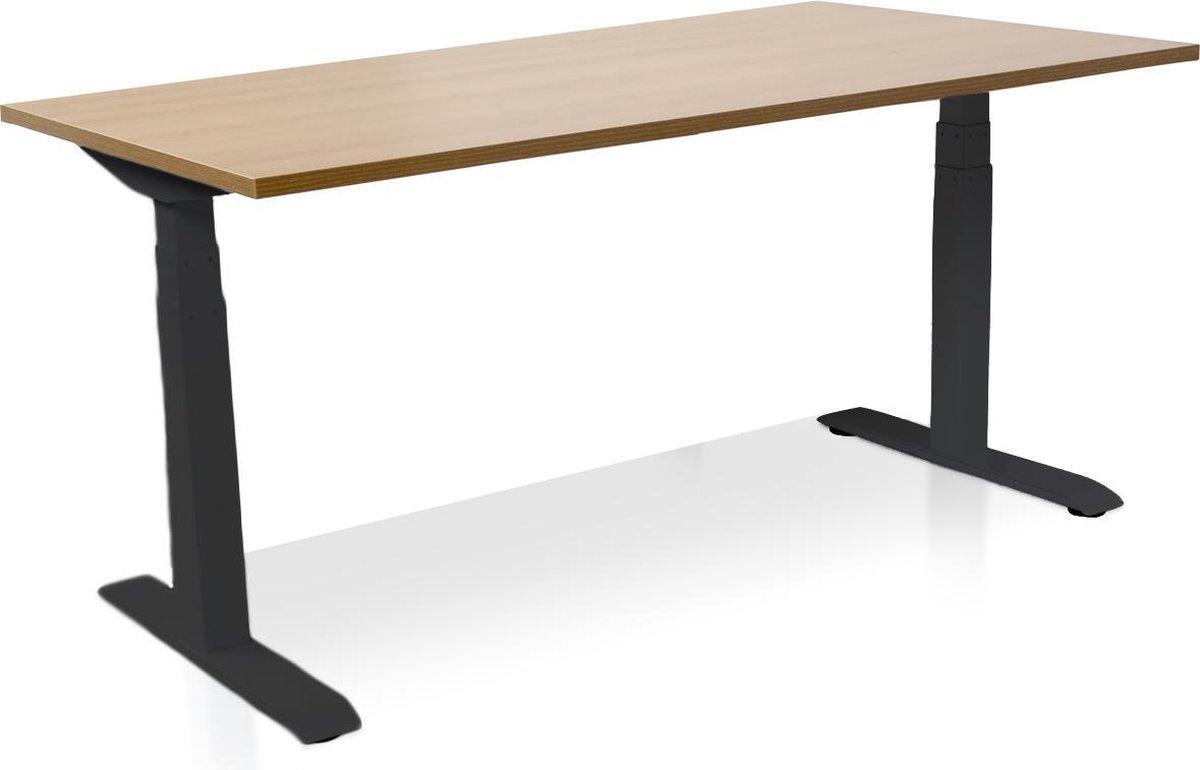 Zit-sta bureau elektrisch verstelbaar - MRC PRO-L | 160 x 80 cm | frame zwart - blad havanna | memory functie met 4 standen | 150kg draagvermogen