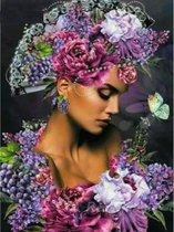 Diamond Painting - Mooie dame in  bloemen en fruit gehuld - 40x50 cm - Vierkante steentjes - Volledige bedekking - Inclusief tools.