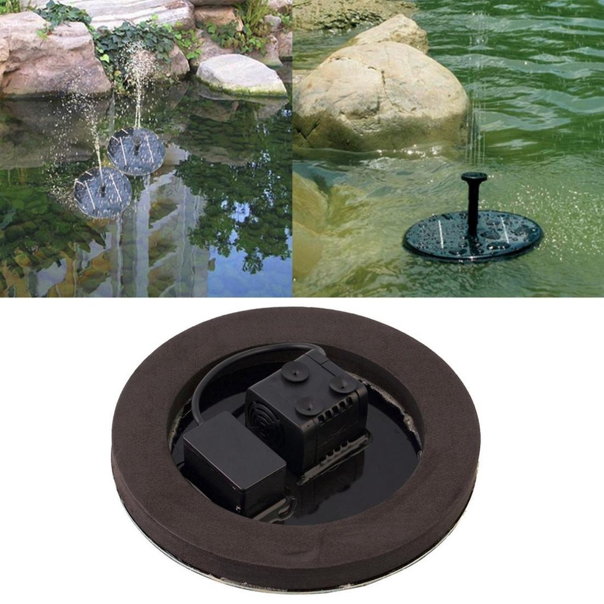 Let op type!! Zonne-aangedreven watertuin pomp fontein zwevend deelvenster drenken vijver Kit voor watervallen Display waterpark zwembad decoratie fontein Diameter: 16cm