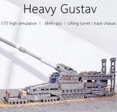 WW2 Schwerer Gustav ( Zware Gustaf) K5E Kanon Bouwpakket 3846 Bouwstenen - Oorlog - 2e wereldoorlog -Toy Brick Lighting