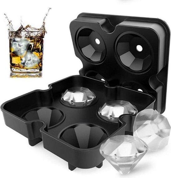 TDR - Siliconen Ijsklontjes Diamanten Vorm - Ijsbal Maker Met Deksel - Ijsklontjes maken- 4 vormen - Whiskey Ice Cube Ballen