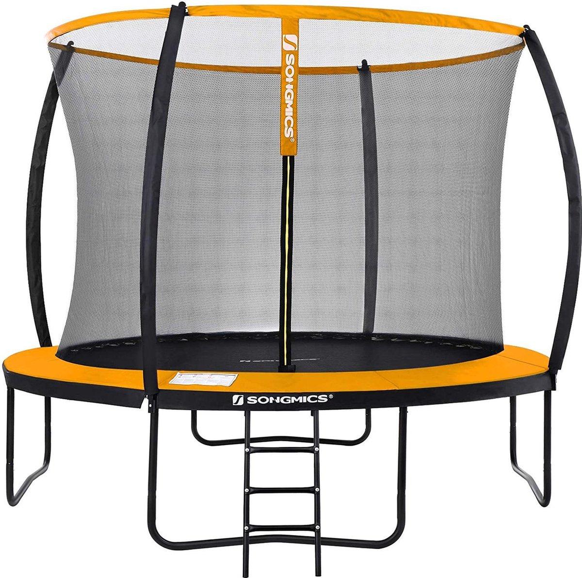 Nancy's Santee Trampoline - Tuintrampoline - Rond - Veiligheidsnet - Ladder - Boogstokken - Veiligheidstest - Zwart - Oranje - 366 cm