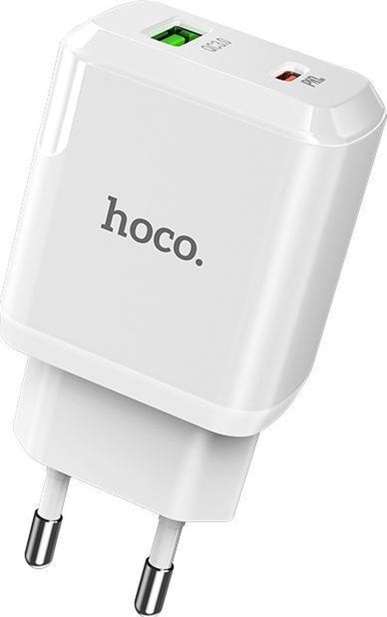 HOCO N5 Favor - 2-Poort Oplader PD 20W + QC3.0 - EU Plug - Snellader - Voor Apple iPhone en Android - Wit