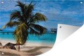 Tuinposter Bahia eilanden - Uitzicht op het strand bij de Noord-Amerikaanse Baai-eilanden in Honduras Tuinposter 90x60 cm - Tuindoek/Buitencanvas/Schilderijen voor buiten (tuin decoratie)