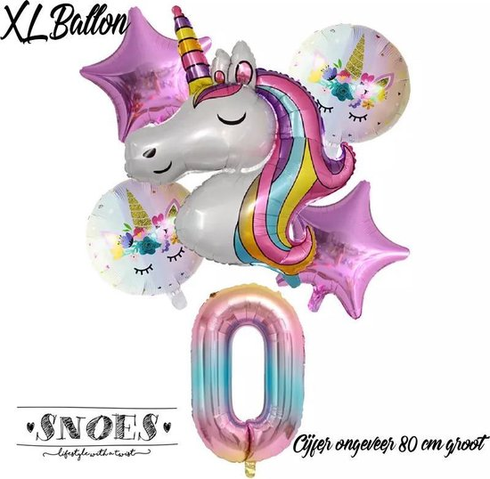 * Snoes * Unicorn * Eenhoorn * Set van 6 Ballonnen XL * Unicorn Nummer 0 * Net Geboren * Hoera 0 Jaar * Birthday