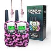 M.Y.© Premium Walkie Talkie Voor Kinderen en Volwassenen – Portofoon Tot 5 KM Bereik – Lichtfunctie – Camouflage Roze - Gratis bijpassende Koordjes