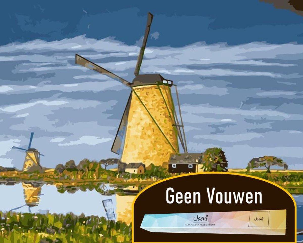 Joeni® Schilderen op nummer - 40x50cm - Landschap: Molen aan Water - Volwassenen - Geschenkverpakking