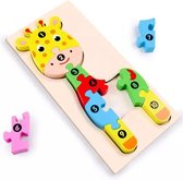 Kinderpuzzel - Hout - 10 stukjes - Giraffe - Vanaf 3 jaar