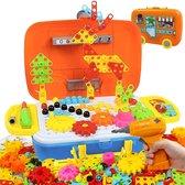 FlexToys® 3D Puzzel met 252 Bouwstenen - Mozaik Educatief STEM Speelgoed met Boormachine - Pedagogisch Speelgoed Cadeauset voor Kinderen