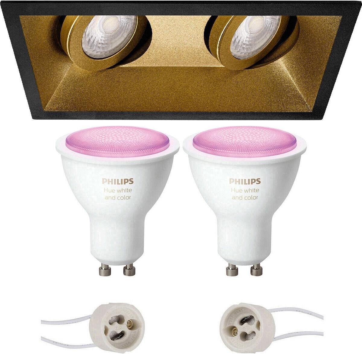 PHILIPS HUE - LED Spot Set GU10 - White and Color Ambiance - Bluetooth - Proma Zano Pro - Inbouw Rechthoek Dubbel - Mat Zwart/Goud - Kantelbaar - 185x93mm
