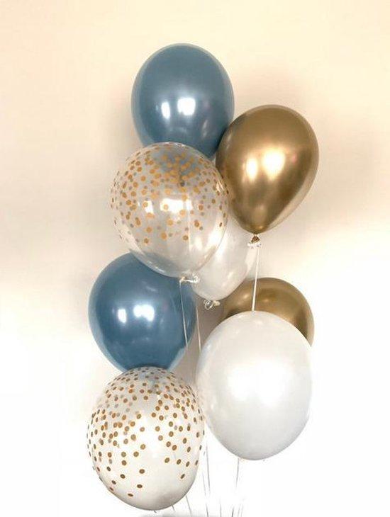Luxe Metallic Ballonnen - Confetti Goud / Goud / Wit / Blauw - Set van 9 stuks - Geboorte - Babyshower - Bruiloft - Valentijn - Verjaardag