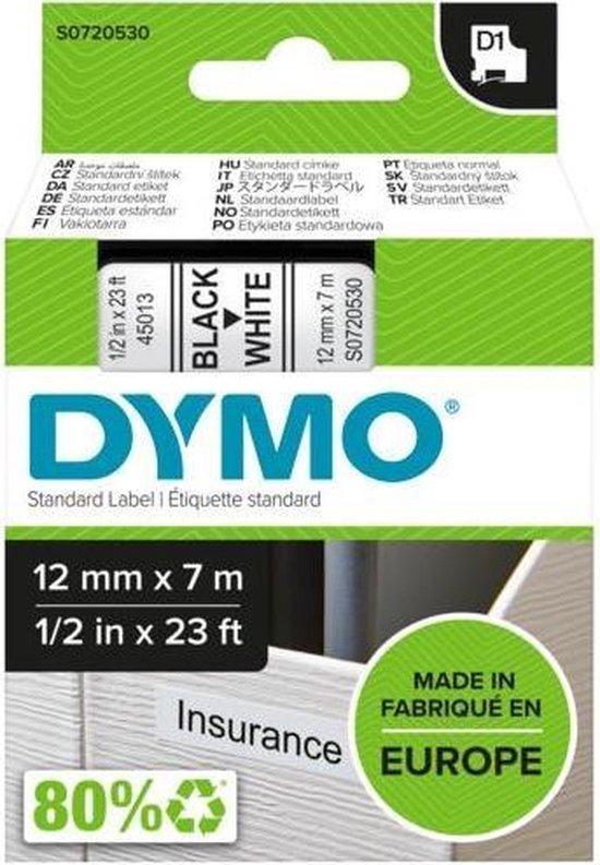 Afbeelding van Dymo D1 labeltape - 45013 - 12 mm x 7 m - Zwart/wit