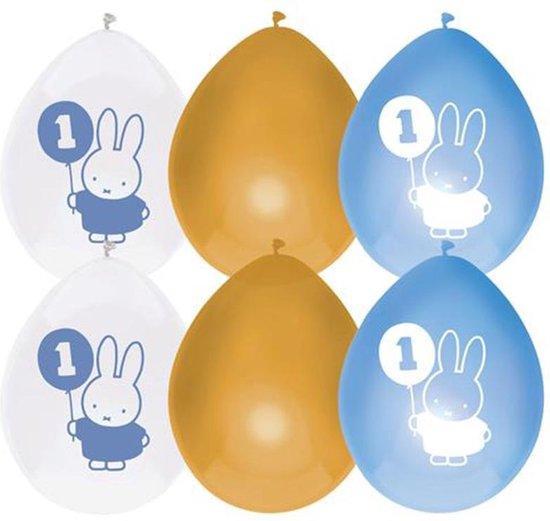 Haza Original Ballonnen Nijntje Eerste Verjaardag Blauw 6 Stuks