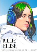 Poster Billie Eilish - 60x40cm - Kunst - Graphic - Pop - Zangeres - Electropop - Topcadeau - Herbruikbaar - kleur