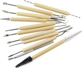 kleigereedschap - Aardewerk gereedschap – Boetseergereedschap - boetseerklei spatel - Mirettes - klei modelleer tool - 11 stuks