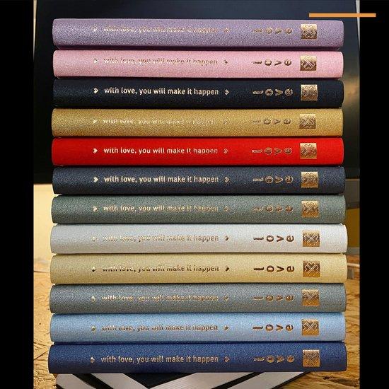 Purpuz Love Journal - Bullet Journal   Notitieboek A5 - Luxe Hardcover - 140gms Schetsboek - Dutch Design Dagboek [ Love Dots ] - Baby Pink