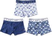 Little Label - Ondergoed Jongens - Onderbroeken Jongens - 3 Stuks -Model boxershorts - Blauw, Wit - Walvisprint - Maat 92 - Zachte BIO Katoen