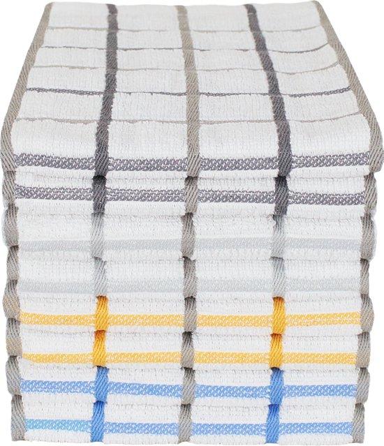 Seashell Keukendoeken Set - 8 Keukenhanddoeken - 4 kleuren - blokpatroon