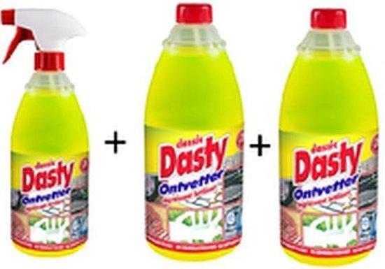 Dasty Ontvetter Voordeelpack: 1x Spuitfles + 2 x Navulling + GRATIS set van 5 x schuursponzen + 1 set schoonmaakhandschoenen