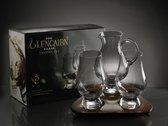 Glencairn Whisky proeverij | 2 glazen, waterkaraf  en dienblad |  Kristal | Handgemaakt in Schotland | Geschenkverpakking
