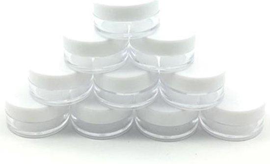 10x Luxe cosmetica potjes 5g - Wit Mini sample potjes- Potjes met...