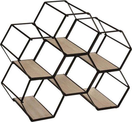 Wijnrek Hexagon Metaal Hout | Hexagonaal flessenrek 6 flessen