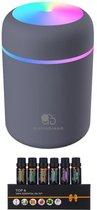Aroma Dream Diffuser Luchtbevochtiger Grijs 300ML incl. Essentiële Olie Set 6 stuks en E-book Aromatherapie - Humidifier geschikt voor Etherische Olie - Vernevelaar - Verstuiver - Geurverspreider