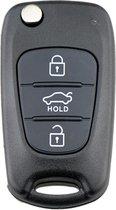 Hyundai klapsleutel - KIA klapsleutel - Sleutelcover - Sleutel behuizing - Sleutelbehuizing - Zwart - 3-knops - Handig