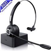 Nince Draadloze Headset - Bluetooth 5.0 - Lichtgewicht Wireless Koptelefoon met Ruisonderdrukking - 300 Graden Draaibaar Microfoon - Geschikt voor Thuis Office / Kantoor / Auto / Gaming - Compatibel met PC / Laptop / Telefoon / Laptop