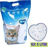 Duvo+ Premium Silica Kattenbakvulling - Voordeelverpakking - 12x 5L - Incl. Wol muisje met catnip!