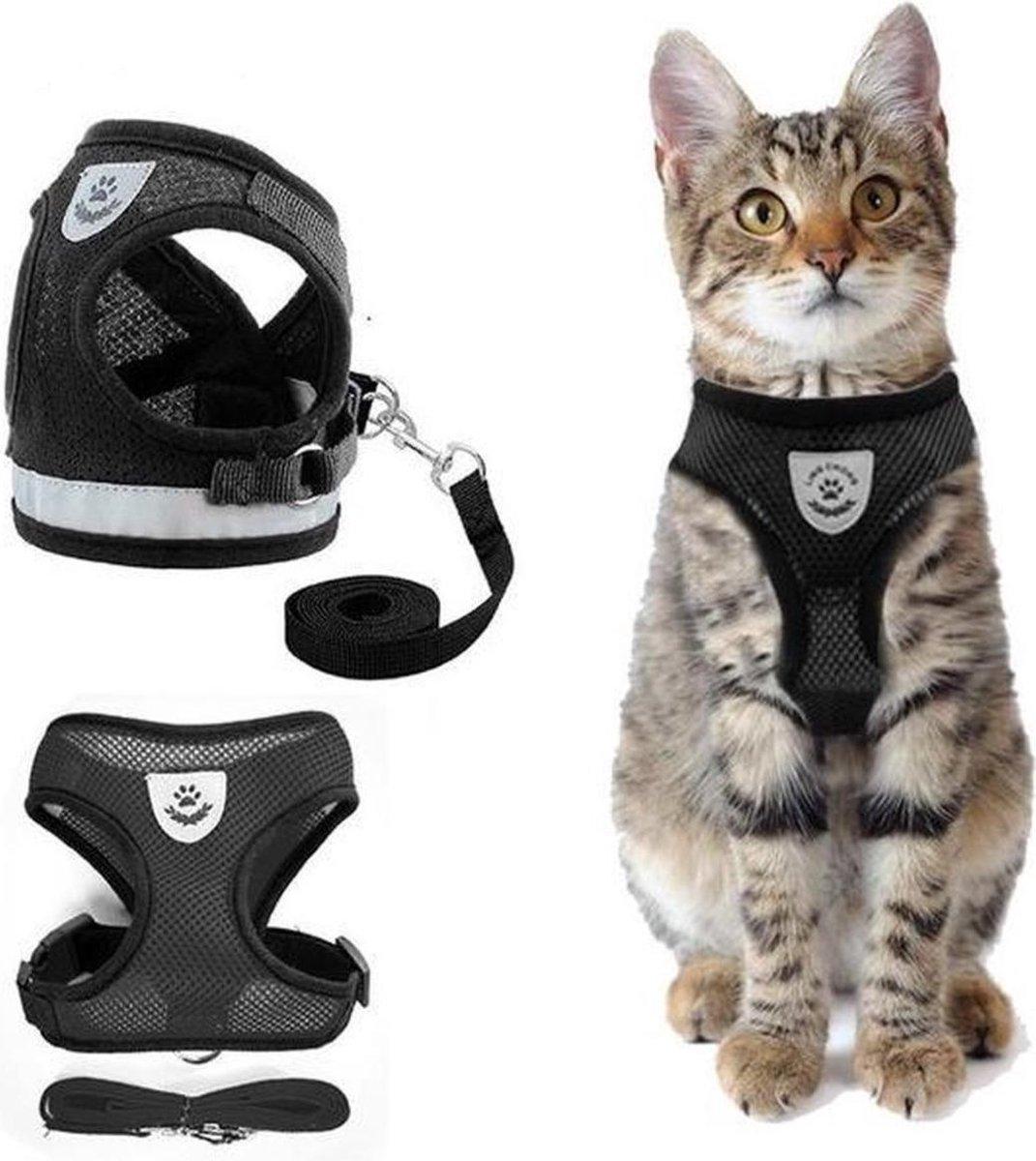 Kattentuigje met looplijn   Zwart Kattenharnas  Easy Step In    Kattenriem   Kattenlijn   Kattentuig