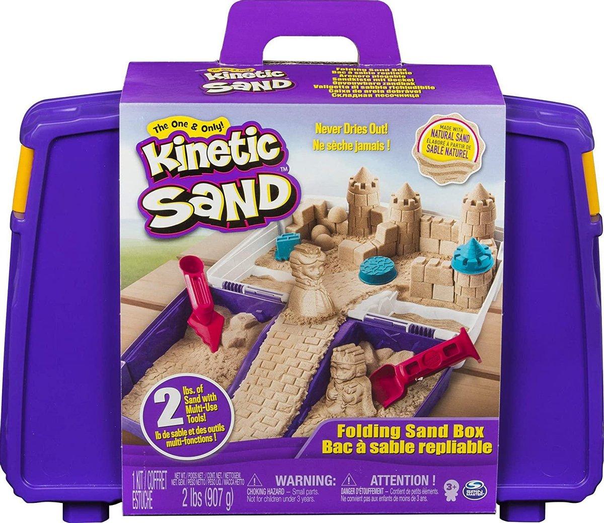 Kinetic Sand zand speelkoffer met 907 g zand, 5 vormpjes en 2 gereedschappen