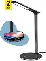 LumiMe® Skøgen Bureaulamp LED Dimbaar - Leeslamp met QI Draadloze Oplader Telefoon - Bureaulampen Wit en Warm Licht (Zwart)