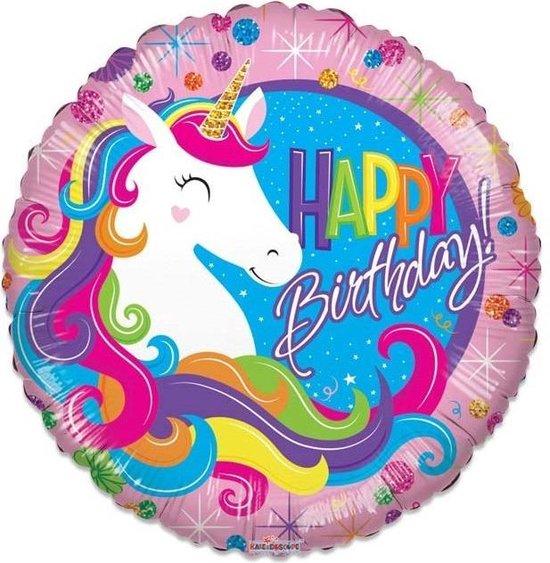 Witbaard Folieballon Birthday Unicorn Meisjes 46 Cm Roze