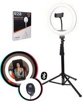 R2B Ringlamp met Statief smartphone en Telefoonhouder - Ringlight met statief - 10 Inch - Zwart
