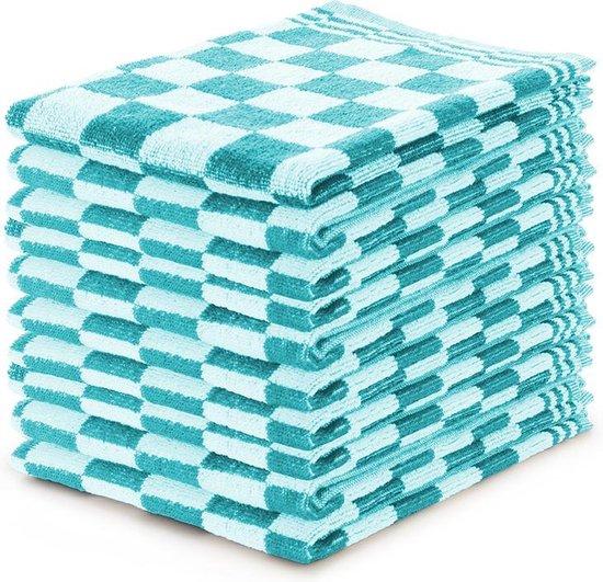 Keukendoekset Blok Turquoise - 50x50 - Set van 10 - Geblokt - Blokdoeken - 100% katoen - Horeca Keukendoeken
