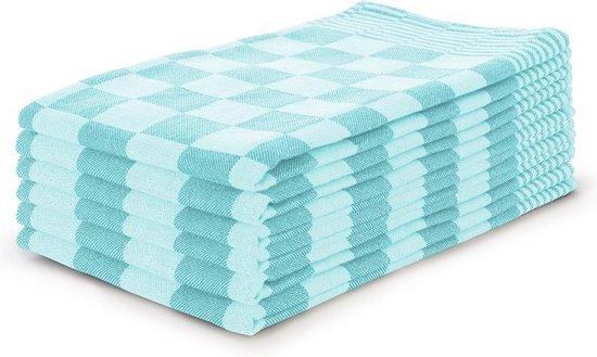 Theedoekenset Blok Turquoise - 65x65 - Set van 6 - Geblokt - Blokdoeken - 100% katoen - Horeca Theedoeken