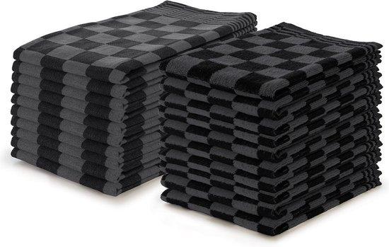 Theedoeken en Keukendoeken set Zwart - Set van 20 - Geblokt - Blokdoeken - 100% katoen - 10 Theedoeken 65x65 - 10 keukendoeken 50x50