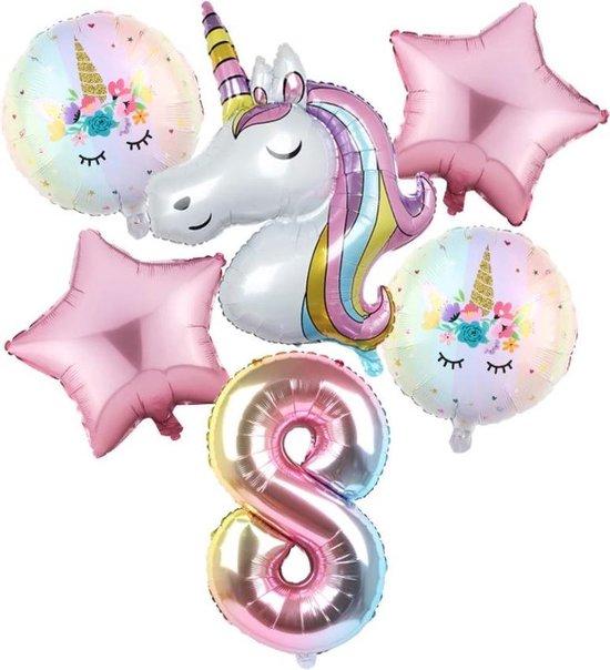 Set van 6 Stuks Unicorn / Eenhoorn ballonnen Verjaardagsfeestje Decoraties ( 8 jaar)