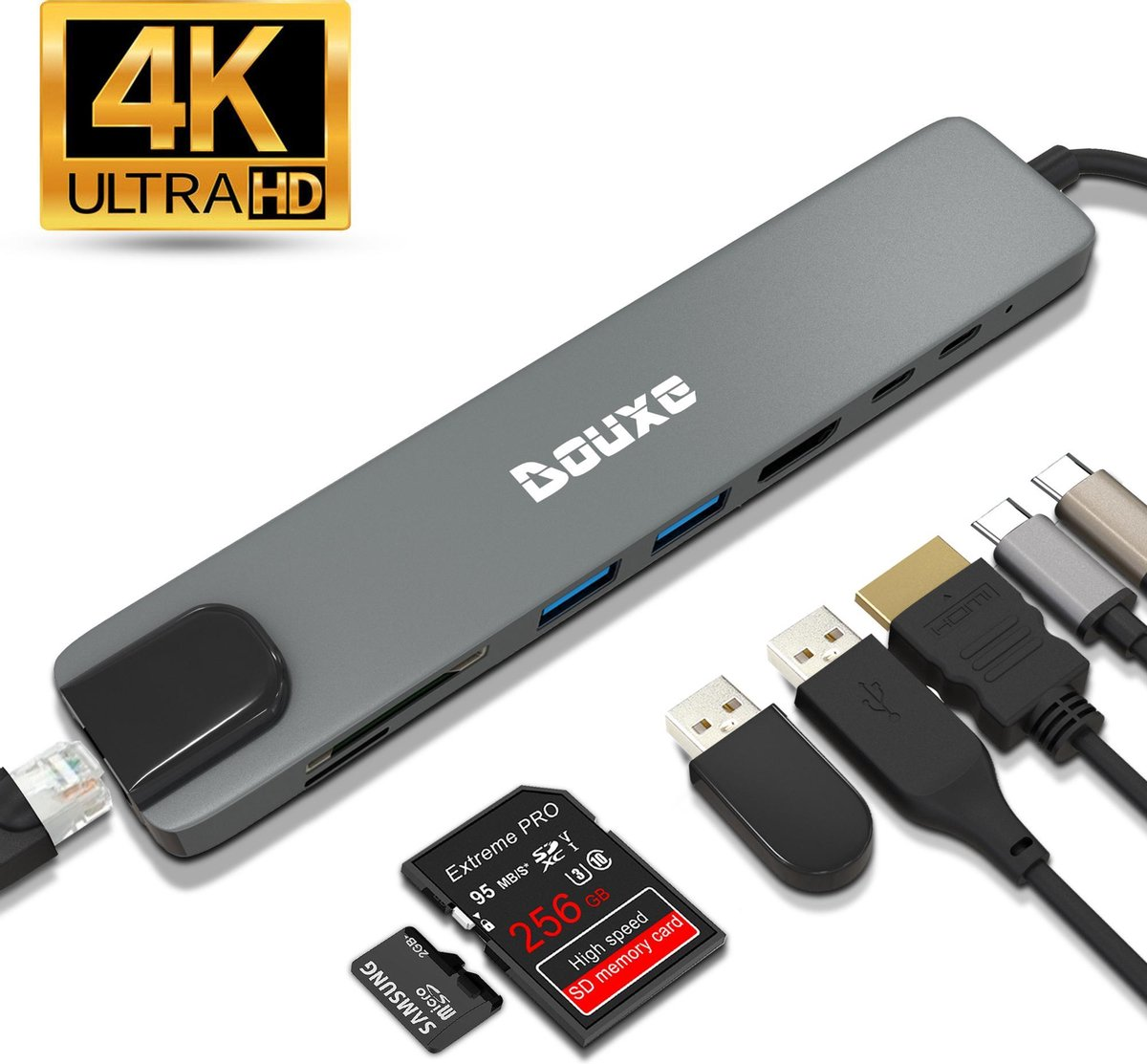 USB C Hub voor MacBook, Dell, HP en lenovo (Thunderbolt 3) met HDMI en 7 andere Poorten - Dockingstation II8 Douxe