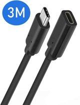 USB-C 3.1 Verlengkabel - 3 Meter - Ondersteund 4k - USB type C - Female naar Male adapter kabel - Data + Opladen