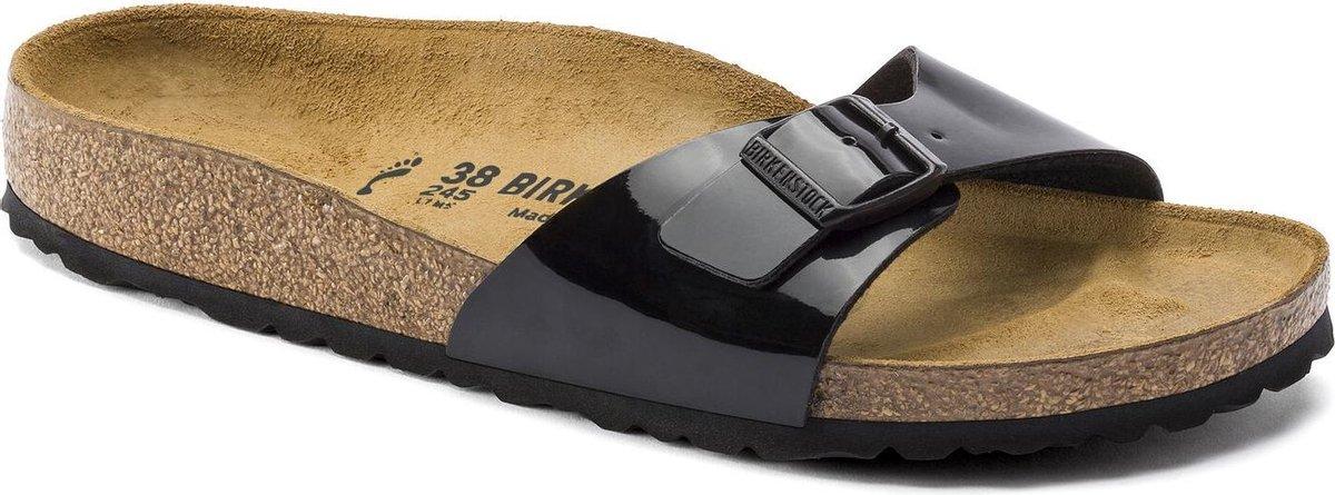 Birkenstock Madrid BF Lack Narrow Dames Slippers - Black - Maat 40