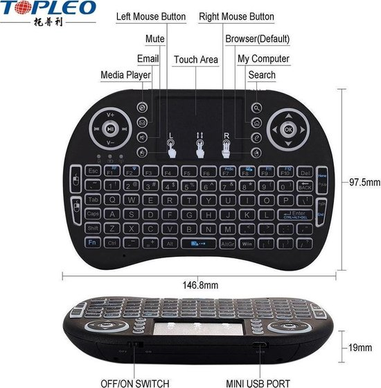 TR Deals -  Rii i8 Mini wireless Keyboard, draadloos toetsenbord. - Zwart