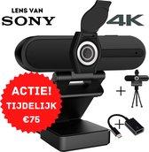 4K Webcam voor pc met usb - LOOXOLIFE Business Edition - Gratis statief en Privacy Cover - SONY Lens - Webcam met microfoon
