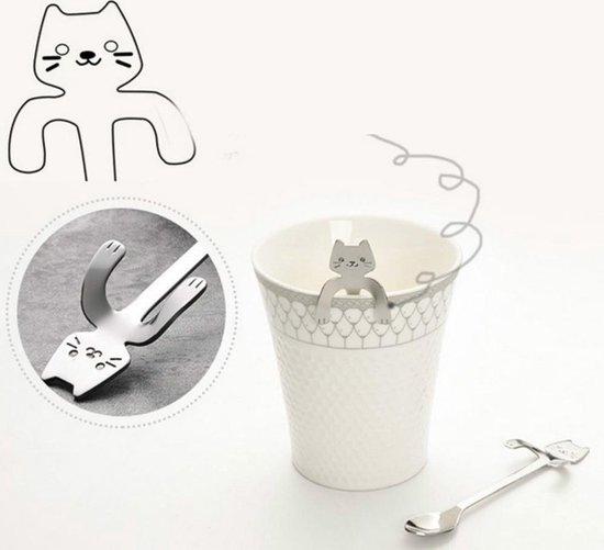 Theelepels Hangende Kat - Lepels voor Koffie & Thee met Katten Motief - Zilver