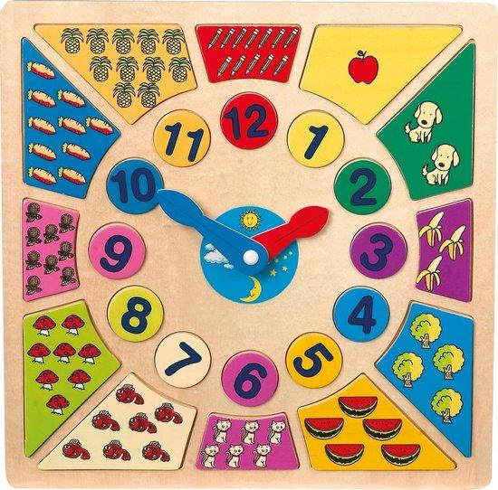 Leerklok - Multi kleuren houten klok - Leren klok kijken - Houten speelgoed vanaf 4 jaar